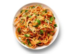 Get Carrot Noodles with Spicy Peanut Dressing Recipe from Food Network
