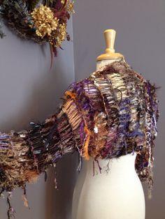 Handknit Shrug 'Purple Pumpkin' 3/4 length Sleevie  - Women's Clothing, Sweaters, Knit fashion, Dumpster Diva Knit Shrug Indie Tribal - Versatile fringed art shrug, sleeves by RockPaperScissorsEtc on Etsy