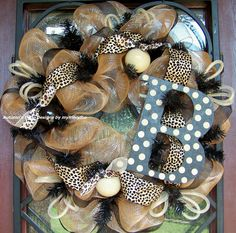 Leopard Whimsical Deco Mesh Wreath, would be cute adding red for Christmas