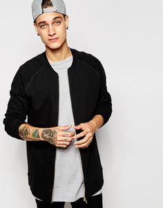 ASOS Longline Bomber Jacket In Black Jersey
