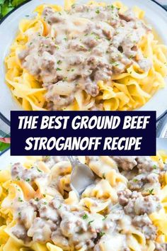 This is the best Ground Beef Stroganoff Recipe. It's a flavor-filled creamy hamburger gravy that is best served over egg noodles. Budget friendly, family friendly, best for dinner! Hamburger Stroganoff, Sauce Hamburger, Easy Ground Beef Stroganoff, Ground Beef Crockpot Recipes, Healthy Crockpot Recipes, Meat Recipes, Healthy Dinner Recipes, Hamburger Recipes, Summer Recipes