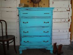 TURQUOISE Shabby Chic Tall Boy Chest of by TheVintageGoodyShop, $249.99