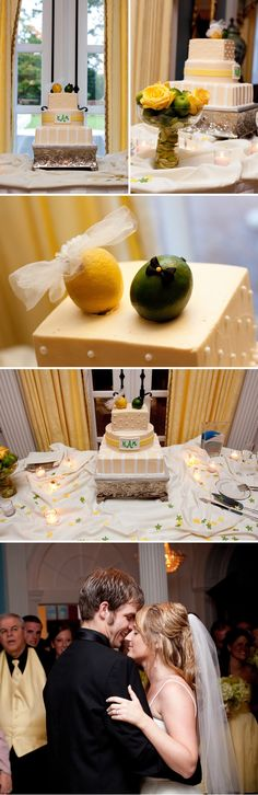 A lemon and lime bride and groom for the cake top!  I like it.
