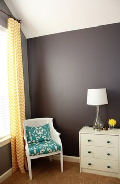 Master Bedroom eclectic bedroom. Pop of color + chevron curtains.