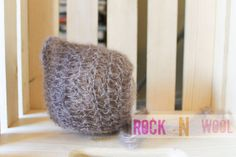 Cramel brown mohair pixie bonnet 0 to 3 months by RockNWool, $15.00