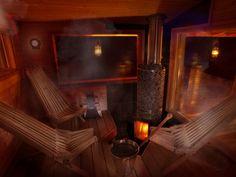 Vedeldat  Woodburning Sauna Vilket basturum! IKI-vedeldad ugn är så snygg!