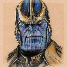 Thanos Zeichnung Marvel Collection Fine Art Print von smithead123