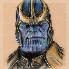 Thanos Zeichnung Marvel Collection Fine Art Print von smithead123