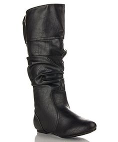 ROF Women's Basic Slouchy Knee High Flat Boot BLACK PU-P ( 12 ) *** Check out the image by visiting the link.