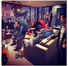 All the GTA characters getting together for game night                                                                                                                                                     Más