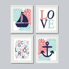 Nursery wall art nautical floral coral navy aqua wall art anchor sailboat love abc set of 4 prints baby girl nursery bathroom bedroom decor Nautical Color Palettes, Nautical Colors, Floral Nursery, Nautical Nursery, Aqua Nursery, Cream Nursery, Nautical Baby, Nursery Wall Art, Nursery Decor
