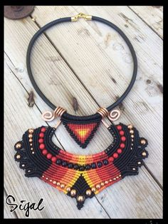 micro macrame necklace Flame coopr structure leather by SigalBali                                                                                                                                                                                 More