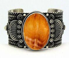 Navajo Sterling Silver Orange Spiny Shell Cuff Bracelet