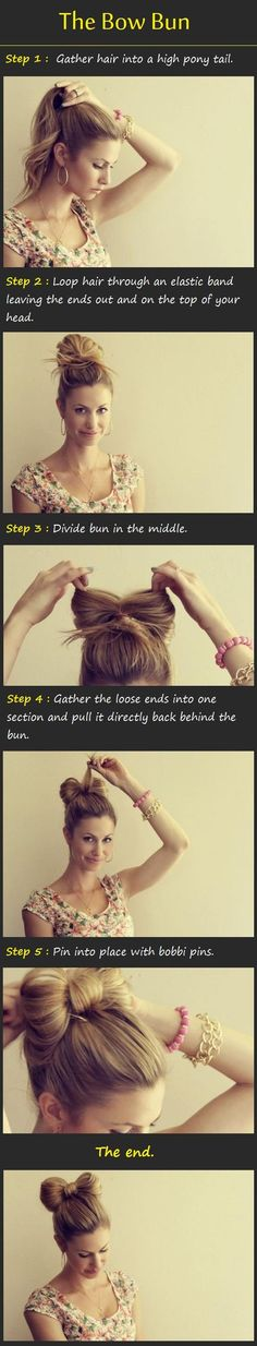 The Bow Bun Tutorial: I used to do this to my hair in Elm school back in the 80's! Love it and it works!