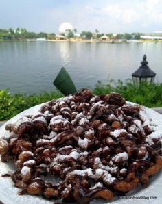 New! Double Chocolate Funnel Cake at Epcot's America Pavilion #DisneyWorld #DisneyFood