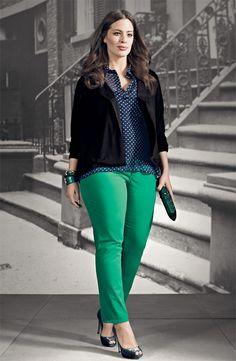 Olivia Moon Knit Blazer, Gibson Sheer Chiffon Pullover, & NYDJ 'Alisha' Ankle Pant #Nordstrom #AugustCatalog