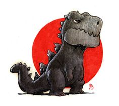Pretty pumped for the new #Godzilla movie. Drawing by Jake Parker from http://mrjakeparker.tumblr.com/post/69763728264.