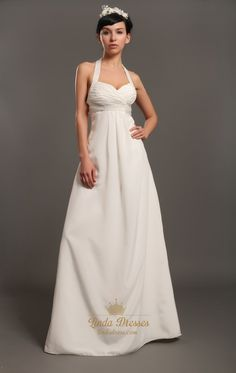 lindadress.com Offers High Quality Ivory Halter Neck Empire Waist Chiffon Wedding Dresses With Beading,Priced At Only USD USD $185.00 (Free Shipping)