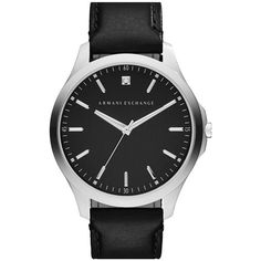 Men's Ax Armani Exchange Leather Strap Watch, 46Mm ($160) ❤ liked on Polyvore featuring men's fashion, men's jewelry, men's watches, black, mens watches, men's blue dial watches, mens stainless steel watches, mens leather strap watches and mens watches jewelry