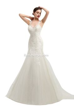 vSleeveless Lace Appliques Mermaid Tulle Bridal Dress Wedding Gown http://www.ikmdresses.com/Sleeveless-Lace-Appliques-Mermaid-Tulle-Bridal-Dress-Wedding-Gown-p90978