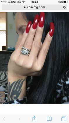 Red long acrylic nails