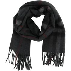 Check Scarf (1.475 BRL) ❤ liked on Polyvore featuring men's fashion, men's accessories, men's scarves, charcoal, menaccessoriesscarves and burberry mens scarves