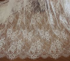 3 yards off white Chantilly lace fabric, bridal chantilly lace, French lace fabric with scalloped bo White Lace Fabric, Bridal Lace Fabric, Wedding Fabric, Floral Lace, Floral Wedding, Wedding Dress, Wedding Lace, Embroidered Lace, Floral Embroidery