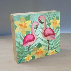 Artist Shanni Welsh's Tropical Flamingo art panel. Flamingo wall décor for kid's bedroom or baby nursery. Flamingo painting. Flamingo poster. Tropical nursery.