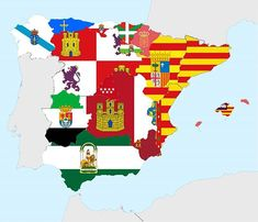 Map with flags of spanish states  #map #maps #statistic #statistics #infographic #interesting #information #european #europe #eu #spain #flag #catalonia #basque #iberia