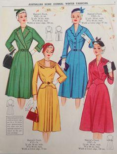 Australian Home Journal - 50's fashion -- Blue and green