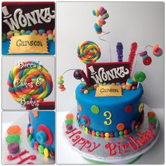 Willy Wonka Cake #colorfulcake #candycake #charlieandthechocolatefactory