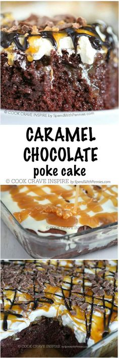 This is the best cake I've ever made! Caramel Chocolate Poke Cake is perfect for any gathering! A delicious from scratch cake soaks up caramel and condensed milk for a moist and rich dessert that everyone goes crazy for!