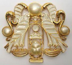 HATTIE CARNEGIE Massive Egyptian Revival Scarab Faux Pearl Brooch/Pendant Necklace