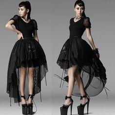 Black Lace Short Sleeve Gothic Lolita Fashion Clothing Shirt Blouse SKU-11407262