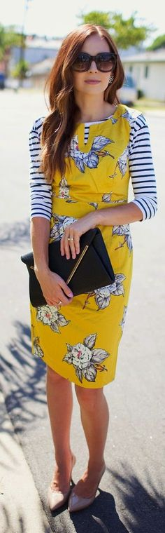 Street style fashion:Joules Mustard Vintage Floral Summer Dress find more women…