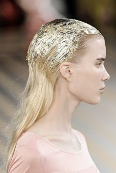 Gold Foil Hair. Doesn't have to have gold foil could be just gel.