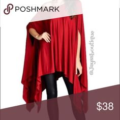🔴FREE SHIPPING🔴 Red Tunic Poncho Red ultra-soft and flowing, loose fit poncho tunic. Can be worn as a tunic top or a dress. Asymmetrical hemline. Edgy and sophisticated yet comfy. Great as a beach cover up too. 95% Rayon 5% Spandex. Made in USA. ONE SIZE FITS SMALL-XXXL Tops Tunics