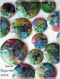 Beautiful water color crackle experiments by Barb Farjado.  She isn't telling us how yet...apparently planning to teach or sell a tute.  The colors are wonderful