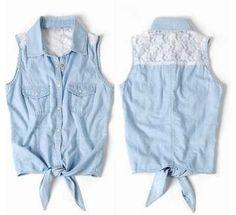 wiegertjessica's save of Lace Sleeveless Vest Shirt on Wanelo. Denim And Lace, Blue Denim, Blue Fashion, Look Fashion, Autumn Fashion, Girl Fashion, Fashion Tips, Jeans, Lace Vest