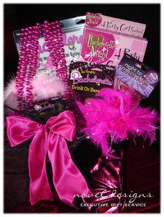 Bachelorette Party Gift Basket - Visit our website for more information noveldesignsllc.com