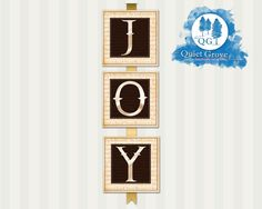 """INSTANT DOWNLOAD Christmas JOY 6"""" X 6"""" Square Banner//Brown and Light Gold// Joy To The World Watermarked// Printable  No. 237"""