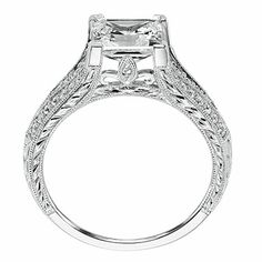 diamond engagement ring with prong setting and hand engraved milgrain and diamond accents. Style: Hope #ArtCarvedBridal #ArtCarvedPinterest