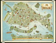 Vintage map of Venice