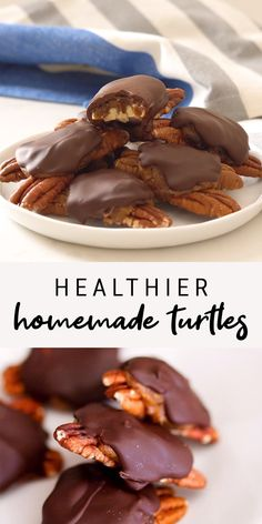 health food These homemade turtles are made with five simple ingredients yet still amazingly decadent and taste just as good, if not better, than the store-bought candies. Theyre also better for you! Made with 5 easy ingredients. Vegan Sweets, Healthy Dessert Recipes, Vegan Desserts, Healthy Desserts, Vegan Recipes, Snack Recipes, Healthy Sweet Snacks, Health Recipes, Keto Snacks