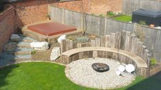 Fire Pit Seating, Backyard Seating, Fire Pit Backyard, Garden Seating, Circular Garden Design, Backyard Garden Design, Small Backyard Landscaping, Sleepers In Garden, Garden Sitting Areas