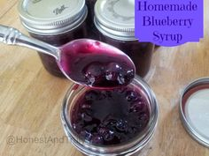 Homemade blueberry syrup. This recipe uses just 4 ingredients you probably have at home, and it takes less than a half hour. Perfect for topping pancakes or waffles, or use it over ice cream. It is gluten free and dairy free, making it an allergy friendly dessert. You had no idea that it could possibly taste this good...