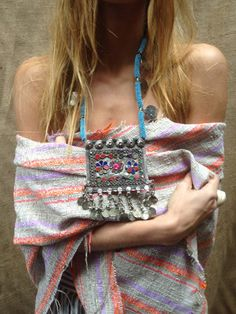 Vintage Moroccan Silver and Bead Necklace Boho by DeLaMerBoutique