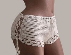 Crochet Shorts-Bikini Shorts-sexy white shorts-Crochet beach shorts-Crochet lace shorts Crochet sexy shorts - indispensable thing for summer vacation, when you want something unusual, bright impressions, admiring the views and a good tan. If you are tired Shorts Crochet, Crochet Skirts, Crochet Clothes, Crochet Bikini, Shorts Sexy, Lace Shorts, White Shorts, Cut Shorts, Cotton Crochet