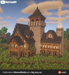 Casa Medieval Minecraft, Minecraft House Plans, Minecraft Cottage, Minecraft House Tutorials, Cute Minecraft Houses, Minecraft Room, Minecraft Crafts, Minecraft Mansion Tutorial, Video Minecraft
