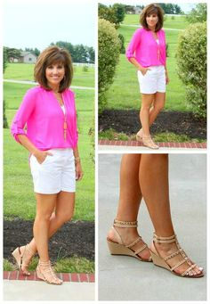 This hot pink top says summer fashion and is one of my favorite tops, it's light weight and I love the sleeve length.